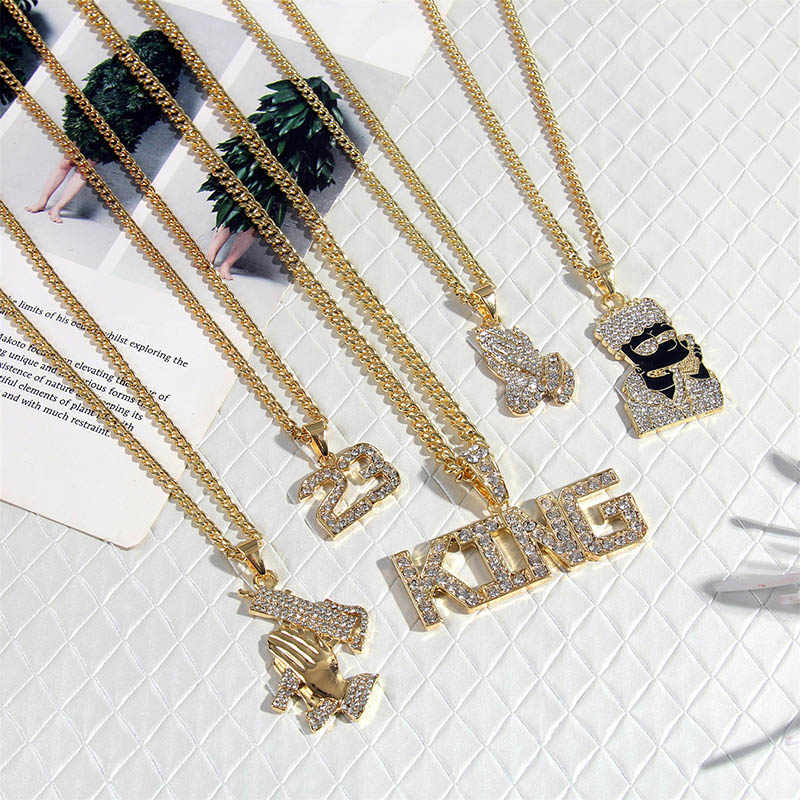 2019 Hip Hop biżuteria kobiety mężczyźni długi złoty łańcuch naszyjniki Unisex Hiphop Bling pistolet AK47 list Xanax pigułki wisiorek naszyjnik prezenty