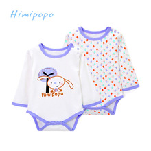 2017 New Himipopo 2 Pcs Newborn Baby Rompers Long Sleeve Cotton Clothes Infant Body Suits Babe