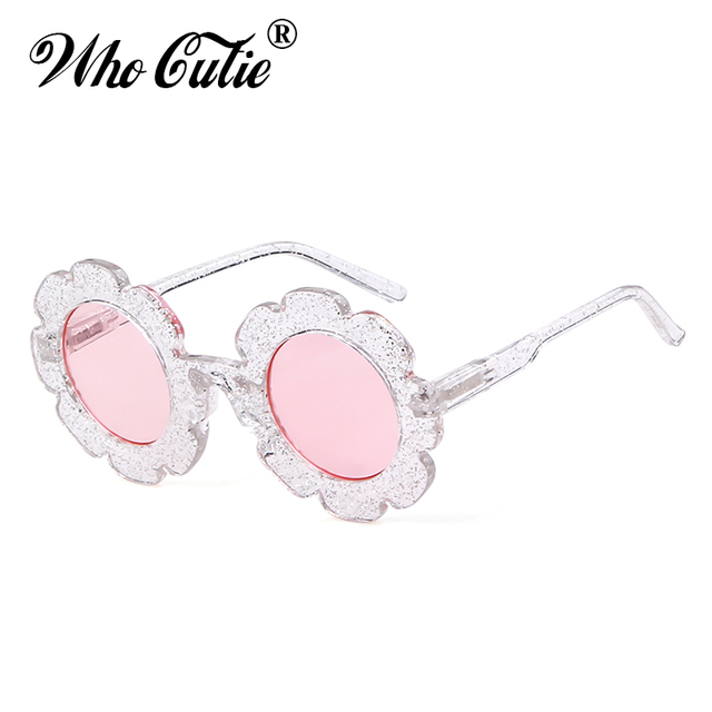 WHO CUTIE Round Flower kids sunglasses Brand Designer Girl Boy Goggles Cute Baby Sun glasses UV400 Lens Shades Children Toddler 2