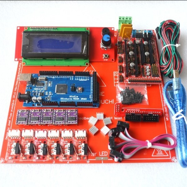 Reprap Ramps 1.4 Kit With Mega 2560 r3 + Heatbed mk2b + 2004 LCD Controller + DRV8825 + Endstop + Cables For 3D Printer