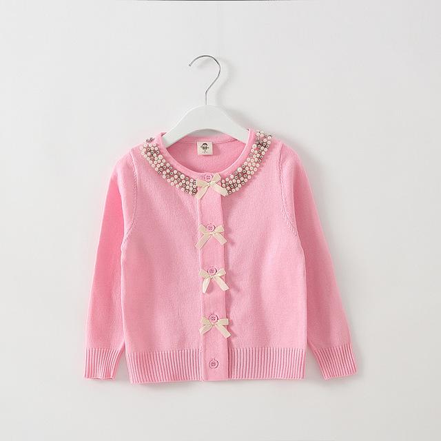 Para menina camisola de malha, Outono pérola blusas de inverno de 2 cores para 2 - 7 anos