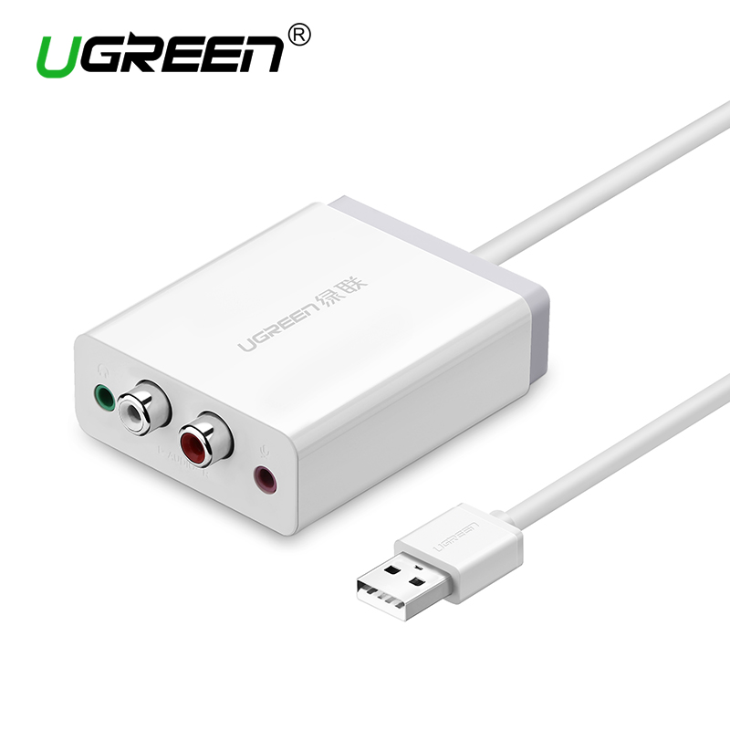 Ugreen 2 RCA USB Sound Card Audio Interface 3 5mm USB Adapter to Speaker Microphone for