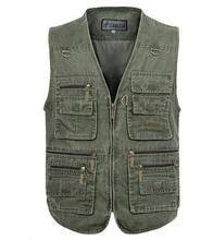 Size XL-5XL 6XL 7XL 2015 New Arrival  100% Cotton Cargo  Men's Vest Fashion Casual Waistcoats Fishing Outdoor Vest Jackets A3028 мужская футболка bigguy 2xl 5xl 7xl 2015 t ctx 01