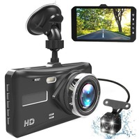 Dash Cam Dual Lens Full HD 1080P 4 IPS Car DVR Vehicle Camera Front+Rear Night Vision Video Recorder G sensor Parking Mode WDR