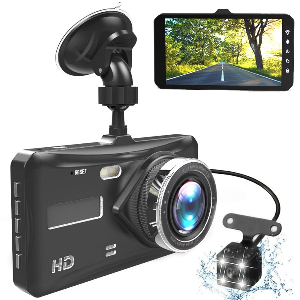 Dash Cam Dual Lens Full HD 1080P 4 IPS Car DVR Vehicle Camera Front+Rear Night Vision Video Recorder G-sensor Parking Mode WDR dual lens car dvr g30b front camera full hd 1080p external rear camera 720 480p h 264 g sensor dash cam two cameras