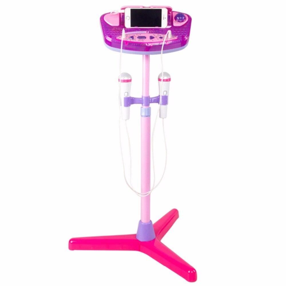 Machine à karaoké pour enfants avec 2 Microphones et support réglable Instrument de musique jouet ensemble éducatif précoce comme cadeau de noël