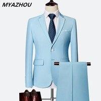 2019 Men's Business Casual Workwear Large Size Solid Color Slim Men's Suit Wedding Groom 2 Piece Set (Jacket + Pants) S 6XL