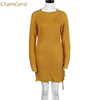CHAMSGEND Trendy Style Women 2017 Winter Warm Sweater Knitting O-neck Sweater Knitted Outwear Tops Drop Shipping Gifts