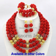 Charming Red African Beads Jewelry Set Crystal Bridal Jewelry Sets Nigerian Style Free Shipping GS373