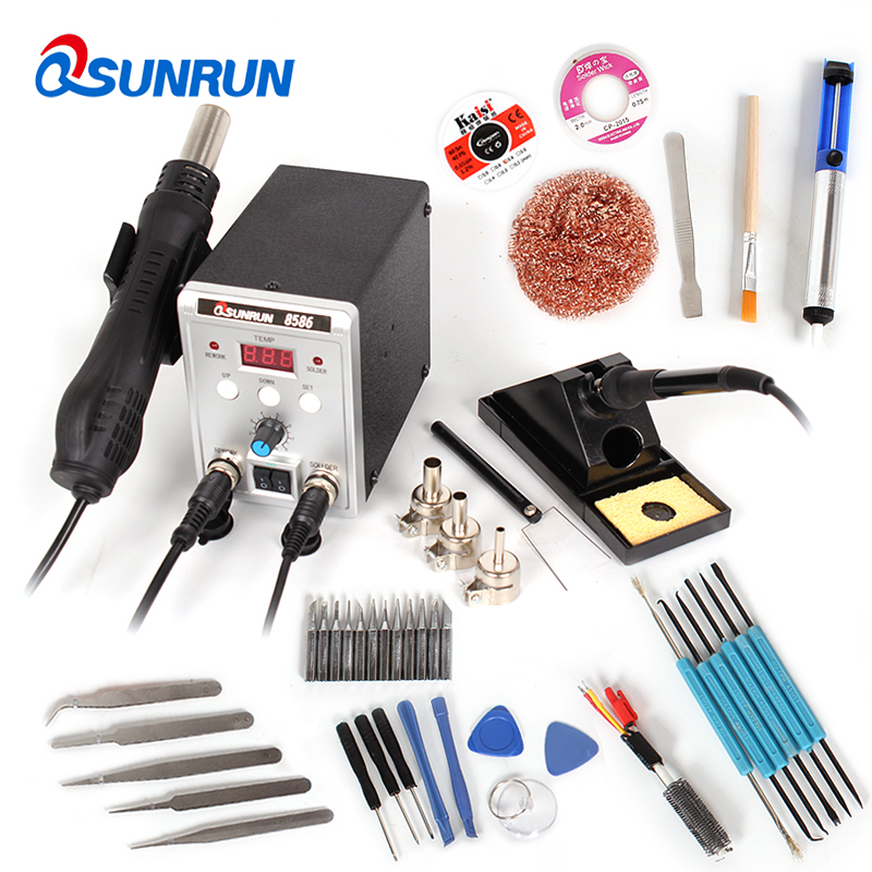 New 8586 2 in 1 SMD Soldering Station Set, Desoldering Station Hot Air Gun Electric Solder Iron Blower Heat Gun with Air nozzle