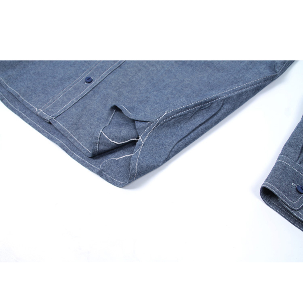Image 5 - WW2 Reproduction Vintage bleu marine Denim Chambray chemise de travail hommes Fatigue utilitaireCasual Shirts