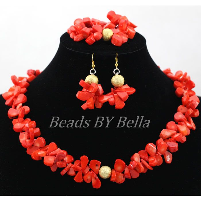 Wholesale African Women Wedding Party Gift Natural Coral Beads Jewelry Set Necklace Earrings Bracelet Set Free Shipping ABL008