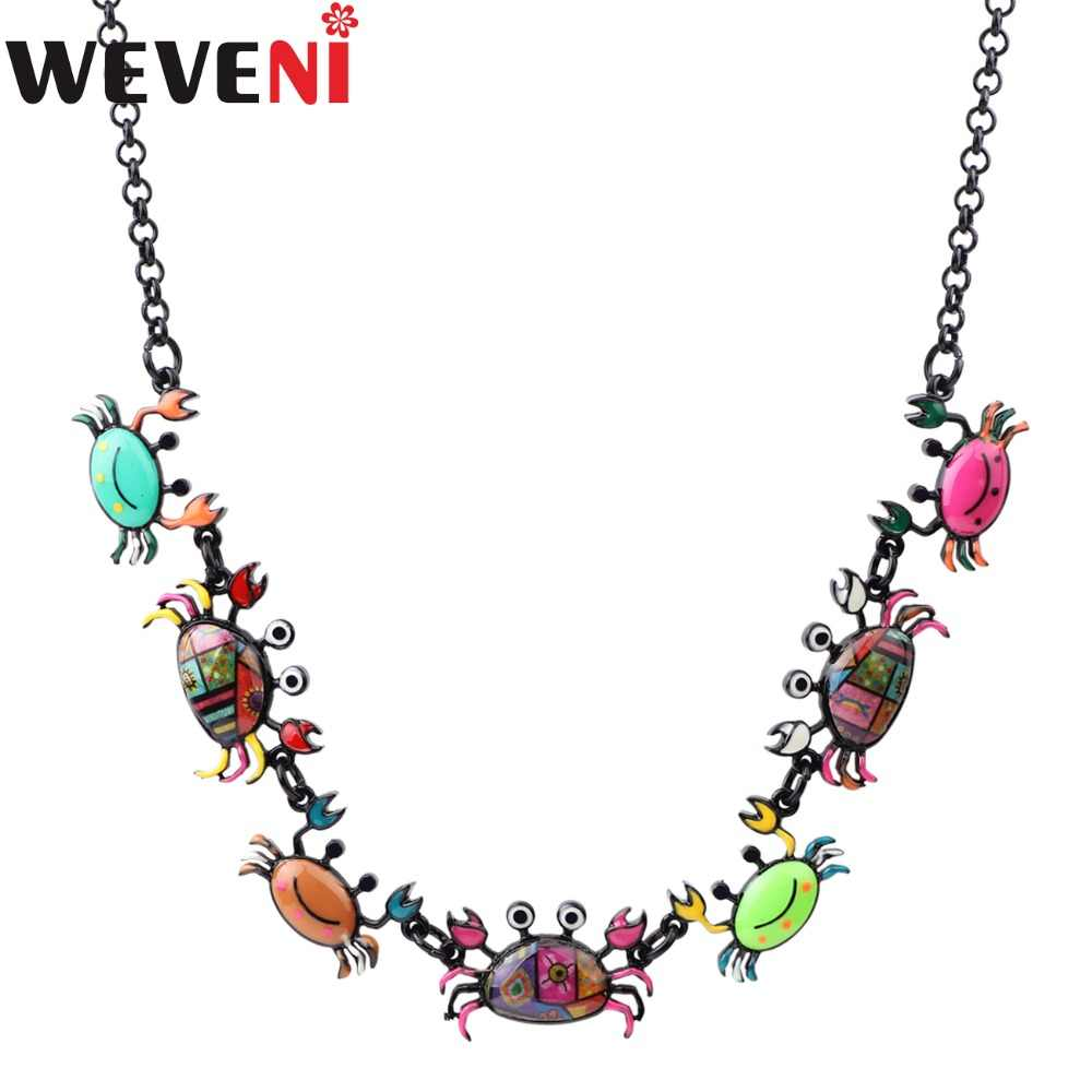 WEVENI Statement Crab Choker Necklace Pendants Specular Effect Chain Collar Newest Ocean Animal Accessories Jewelry For Women