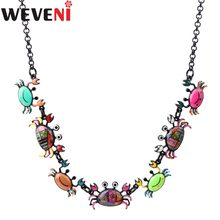 WEVENI Statement Crab Choker Necklace Pendants Specular Effect Chain Collar Newest Ocean Animal Accessories Jewelry For Women(China)