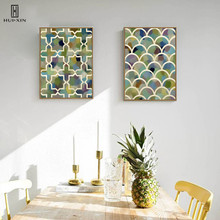 Nordic Artistic Traditional Style Colorful Abstract Fishes Scale Crystal Symmetry Pattens Cottons Painting Picture Home Decors джемпер henry cottons