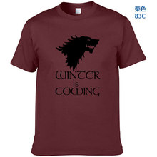 Game Of Thrones Print Winter Is Coming Stark Blood Wolf Men T Shirt Casual Cotton High Quality Cool T-Shirt For Men(China)