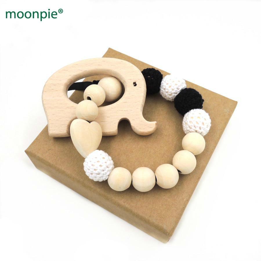 Új fekete fehér horgolt gyöngyök természetes környezetbarát Bébi fogak játékok biztonságos csecsemő rágás elefánt csörgő baba zuhany ajándék ET89  t