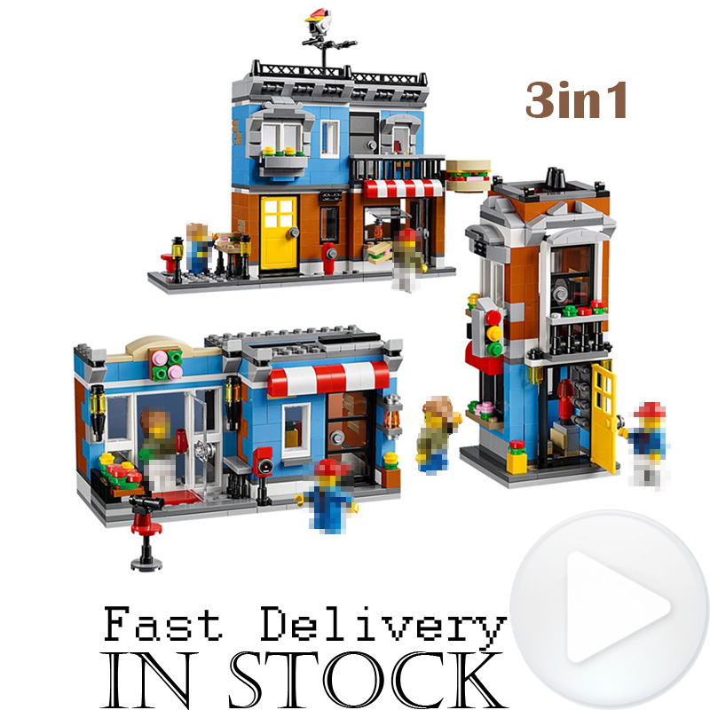 LEPIN 24007 491pcs City Creator 3 in 1 Corner Deli Building Blocks Bricks Classic Model Toys For Children gifts brinquedos lepin 24021 city creator 3 in 1 island adventures building block 379pcs diy educational toys for children compatible legoe