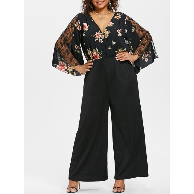 56b13418c1 US $17.99 40% OFF|Wipalo Autumn Floral Print Jumpsuit Women Casual Black  Wide Leg Rompers Plus Size Lace Patchwork Bell Sleeve Jumpsuits Overalls-in  ...