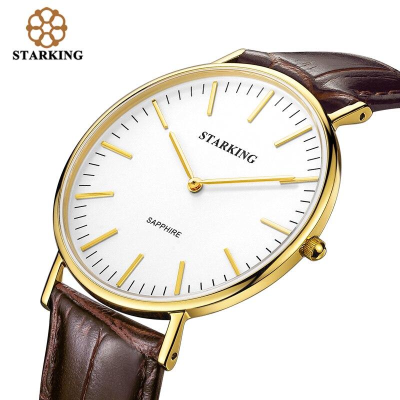 903a4cbc700 StarKing Marca Homens Clássico Relógio de Quartzo Relógio de Negócios  Ultra-fino Simples Minimalista Ouro Relógio Pulseira de Couro Moda Relógio  de Pulso ...
