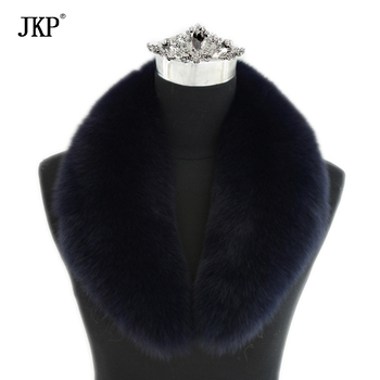 Jancoco Max 2020 New Long Real Fox Fur Collar Scarf Women & Men Spring Winter Warm Solid Jacket Coat Shawls Lining 75cm image