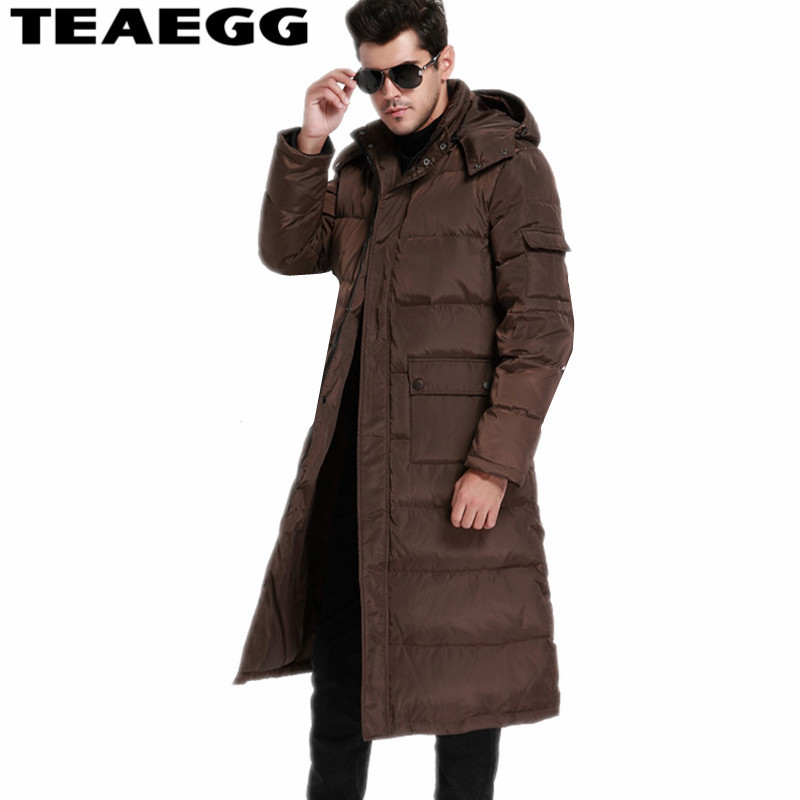 TEAEGG Long Winter Coat Duck Men 2017 90% White Duck Down Jacket Men Warm Parkas Pluma Hombre Invierno Mens Jackets OutwearAL133