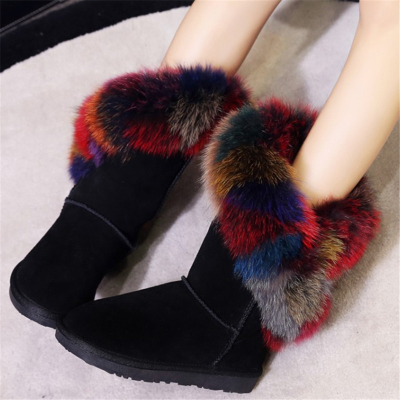 Colorful Fur Slip On Winter Big Size Women Casual Winter Bottes Femelles Black Plush Warm Shoes Fashion Mid-calf Suede Boots original new arrival 2017 adidas neo label m sw tee men s t shirts short sleeve sportswear