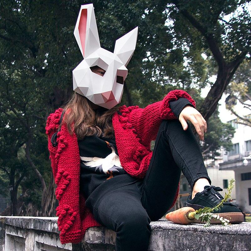 2018 Nouveau Effrayant Masque Cosplay Costume Animal Masque Bricolage Lapin De Fantôme Tête Visage Adulte Carton Respirant Décor Délicat Drôle