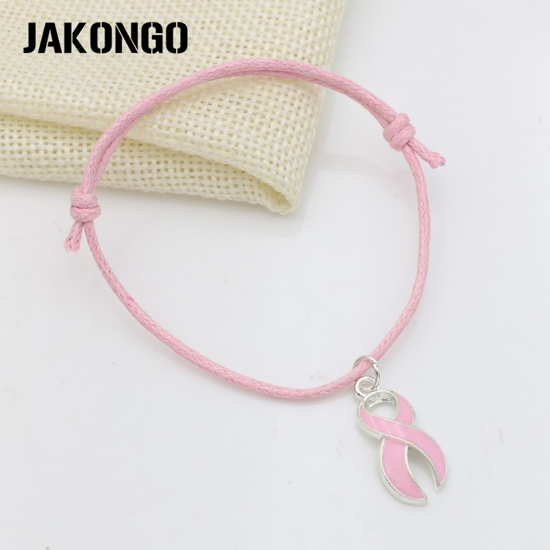 Image 5 - JAKONGO Hope Ribbon Breast Cancer Charm Pendant Bracelet Handmade Rope Adjustable Bracelet DIY  20pcs/lot-in Charm Bracelets from Jewelry & Accessories