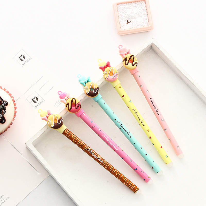 30 Pcs/Lot Candy Color Gel Pen Sweet Donut Bowtie 0.5mm Ballpoint Blue Color Pens Kawaii Gifts School Canetas Escolar FB438
