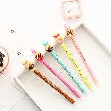 30 sztuk/partia cukierki kolorowe pióro żelowe słodki pączek bowtie 0.5mm długopis niebieski kolor długopisy Kawaii prezenty szkolne Canetas escolar FB438