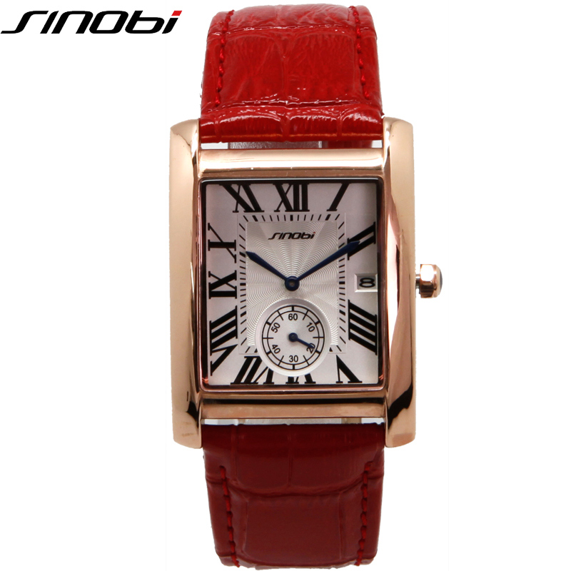 SINOBI Red Lovers' Quartz Watch High Quality Rectangle Leather Band Erkek Kol Saati 2017 New With Tags Business Ladies Watches rushed real new with tags 2pcs set 2016 fashion business stainless steel roman numerals quartz leather band lovers watch