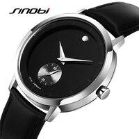 Sinobiนาฬิกาผู้ชายแฟชั่นบริสุทธิ์หนังนาฬิกาข้อมือกันน้ำ2สี