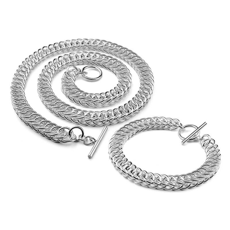 Mode 100% 925 argent sterling hommes 10 MM bracelet/collier réel argent hommes dragon bijoux ensemble mâle accessoire Hip Hop fête