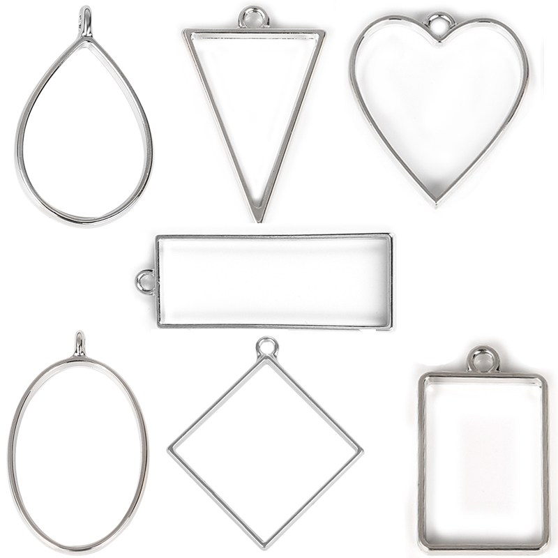 YAKAMOZ Open Blank Bezel Frame Pendants Geometric Hollow Pressed Flower Charms Resin Crafts For Earrings Necklace Jewelry Making