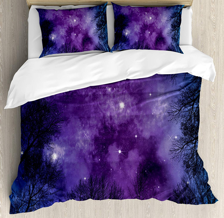 Ciel nocturne housse de couette ensemble King Size étoiles colorées nébuleuse sur forêt étoilée thème hiver Branches foncées décorative 4 pièces literie
