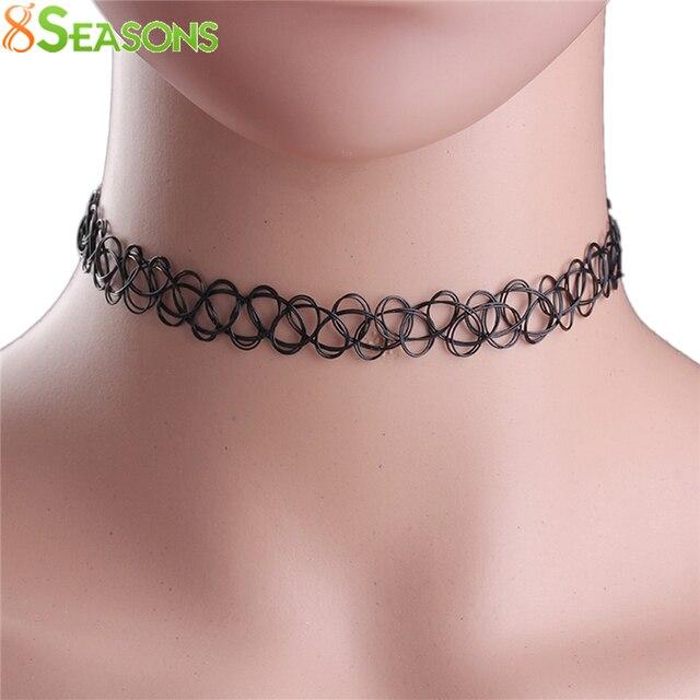 0e0f2d187d9c 8 estaciones nueva moda plástico elástico tattoo gargantilla collar negro  28 cm (11