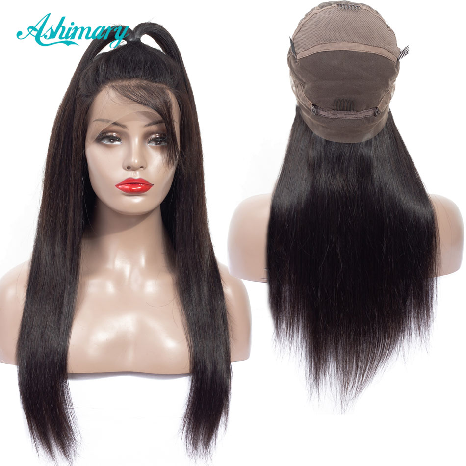 Ashimary Wigs Human-Hair Full-Lace-Wig Bleached Knots Pre-Plucked 180%Density Straight