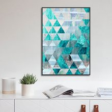 Nordic Poster Geometric Abstract Turquoise Decorative Painting Canvas Art Modern Home Decoration Living Room Wall Pictures(China)