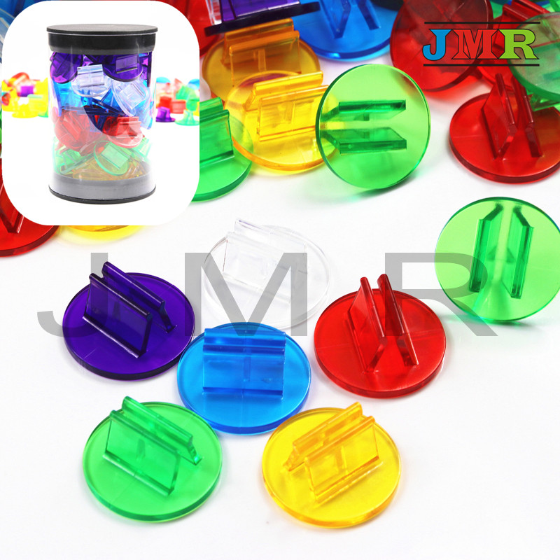 50pcs/Tube Translucent Plastic Game Card Stands,Rainbow Color,Purple,Blue,Green,Yellow,Red ,Perfect for 2mm Board Game Cards