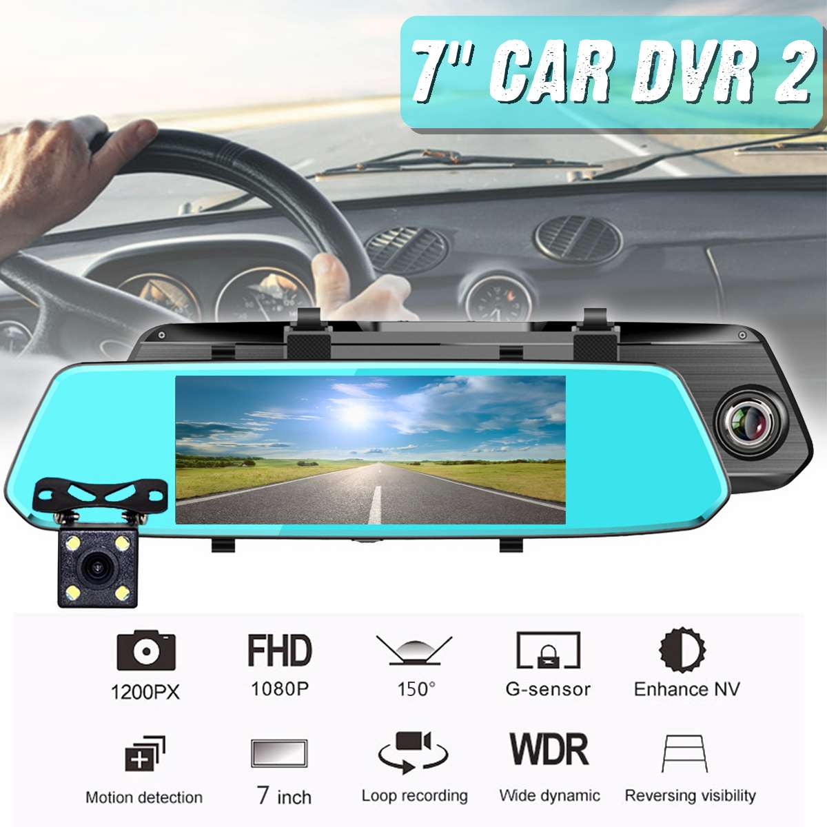 Dash Cam 7 inch USB <font><b>Car</b></font> Rearview <font><b>Mirror</b></font> <font><b>Car</b></font> <font><b>DVR</b></font> <font><b>Mirror</b></font> Android FHD Auto Recorder GPS Navigation Dash Camera Rear View <font><b>Mirror</b></font> image