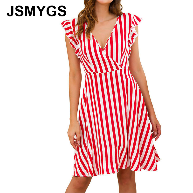 JSMYGS Women <font><b>Sexy</b></font> Summer <font><b>Dress</b></font> Casual Loose Cotton Sundress V-neck <font><b>Red</b></font> Striped Flying Sleeves Slim A-line Mini <font><b>Dresses</b></font> Vestidos image