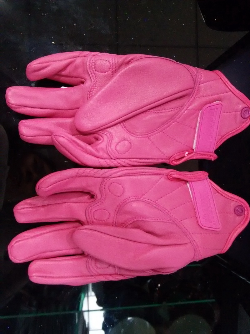 Motorcycle gloves pink - 2016 New Lady Off Road Motorcycle Gloves Pink Imported Sheepskin Leather Motorcbike Locomotive Anti Fall