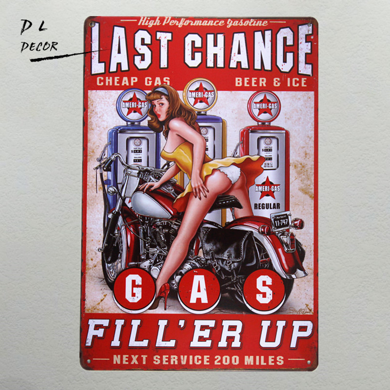 DL-Last chance gas Metal Sign vintage garaje arte de la pared pin up poster coffee bar sign decoración para el hogar bandeja antigua