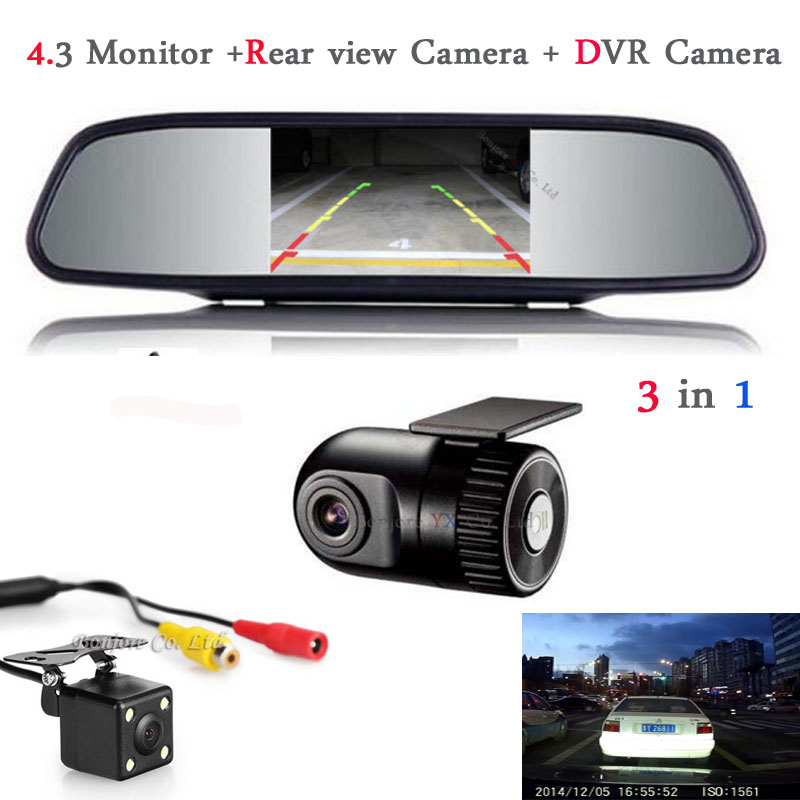 все цены на Car Monitor Mirror TFT LCD Display Car DVR Camera Dash Cam Hidden Car DVR Recorder with Rear view camera with monitor Parking онлайн