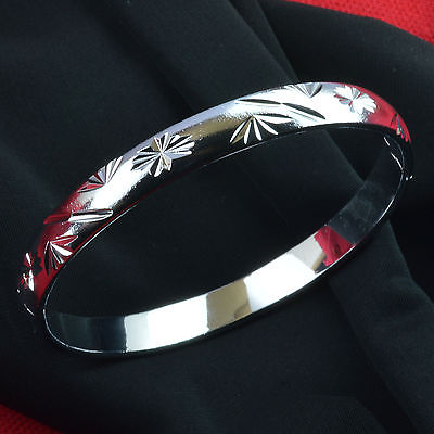 925 Hallmark Silver tone ladies engagement bangle bracelet 58mm Dia g135