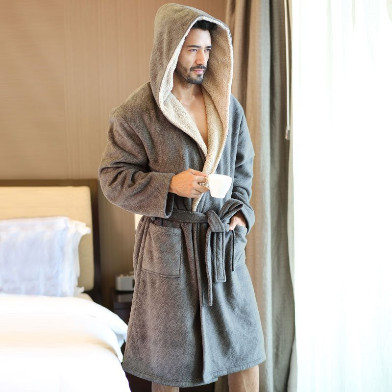 High Quality Mens Winter Thick Warm Flannel Hooded Robes Male Long Comfort Gray Home Wear String