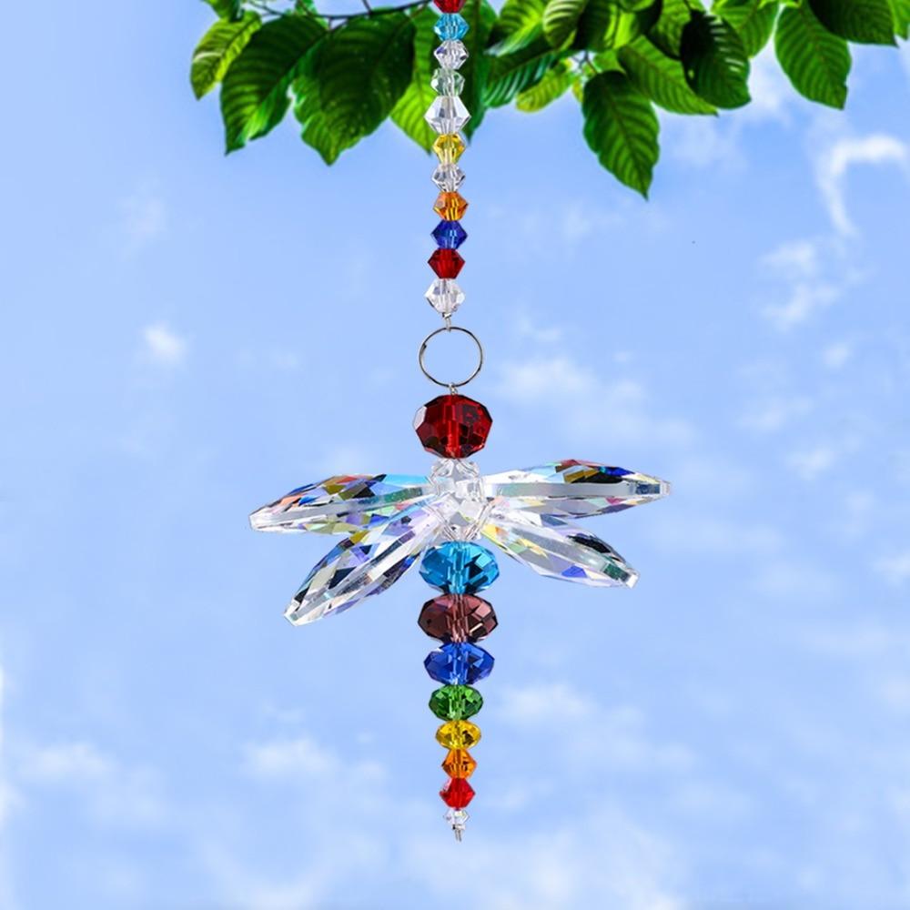 H&D Multi Hanging Window Dragonfly Pendant Rainbow Maker Crystal Suncatcher Feng Shui Home Window Decor Christmas Birthday Gifts