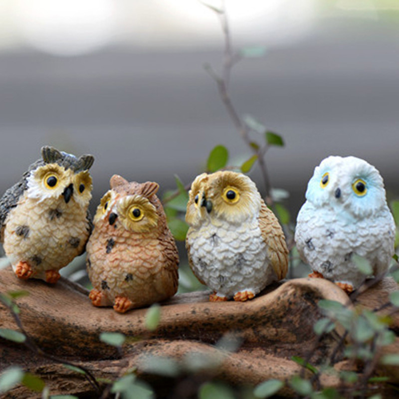 xbj010 terrarium decor 1 pc cute owls animal resin miniatures figurine craft bonsai pots home fairy
