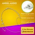 Free Shipping Flesh Colour Female Screw Thread Lock 3.5 mm Jack Stereo Plug Headset Microphone For Wireless BodyPack Transmitter